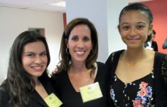 Education Advisory Committee Chair Stacey Garfinkel with NYLM delegates Destiny Murillo (left) and Chelsea Hylton.