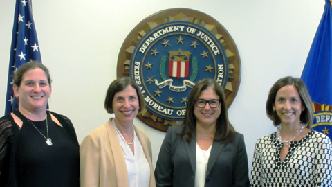 Meeting with new FBI ADIC Fike (3rd from left) were ADL Associate Regional Director Ariella Schusterman, Regional Director Amanda Susskind and Investigative Researcher Joanna Mendelson.