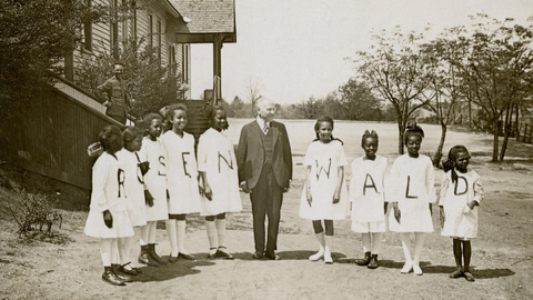 Julius Rosenwald with students from a Rosenwald school. Courtesy Fisk University, John hope and Aurelia E. Franklin Library, Special Collections