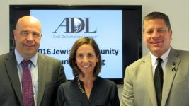 Chief Burguan, ADL's Joanna Mendelson and Lt. Madden