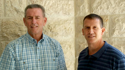 San Bernardino Cpunty Sheriff McMahon (left) with Orlando Police Chief John Mina in Israel.