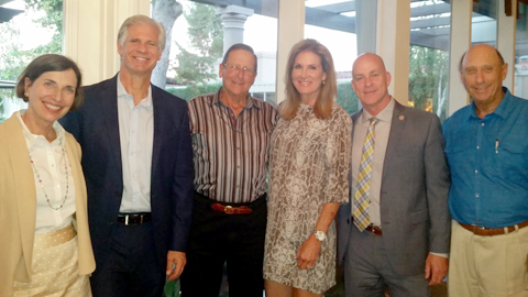 Regional Director Amanda Susskind; Honorees Dale Surowitz (CEO, Providence Tarzana Medical Ctr) and Alan Wiener; Co-Chair Alison Diamond; LA County Sheriff's Captain Joseph Dempsey; Co-Chair Ian Smith