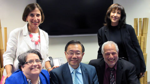 Ivy Kagan Bierman (top right) chaired her first board meeting as Regional Board Chair, which included a panel moderated by Regional Director Amanda Susskind (top left).